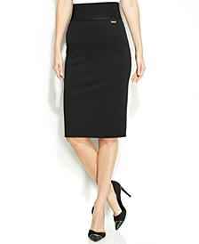 Wide-Waistband Pencil Skirt
