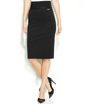 Calvin Klein Wide-Waistband Pencil Skirt - Skirts - Women - Macy's