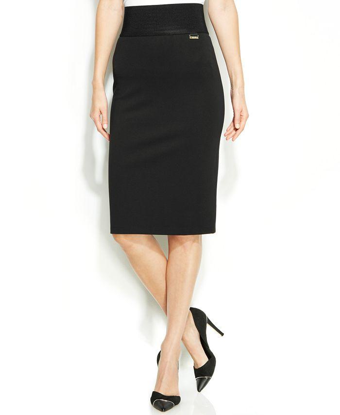 Calvin Klein - Wide-Waistband Pencil Skirt