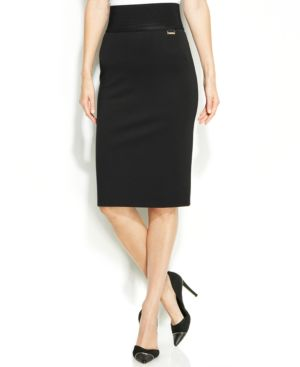 Calvin Klein Wide-Waistband Pencil Skirt thumbnail