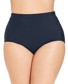 Plus Size Mid-Rise Tummy-Control Swim Bottoms