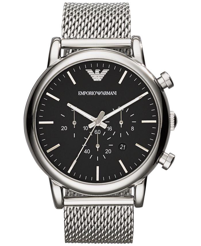 Emporio Armani - Men's Chronograph Stainless Steel Mesh Bracelet Watch 46mm AR1808