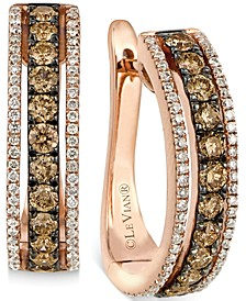 Chocolate and White Diamond Hoop Earrings in 14k Rose Gold (9/10 ct. t.w.)