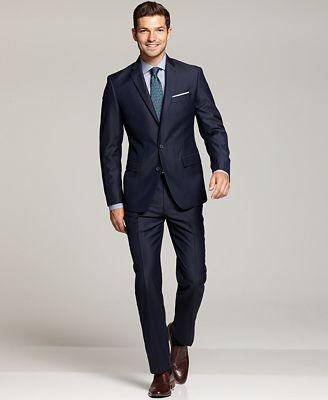 Ryan Seacrest Distinction Navy Suit Separates, Neck Tie & Dress Shirt