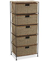 Household Essentials Seagrass 5 Drawer Storage Chest