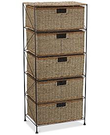 Household Essentials Seagrass 5 Drawer Storage Chest