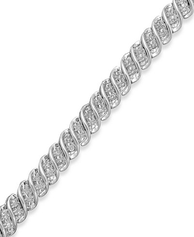 Diamond S Link Bracelet In 10k Gold Or White 1 2 Ct