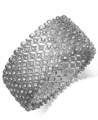 Charter Club Silver-Tone Clear Crystal Stretch Bracelet