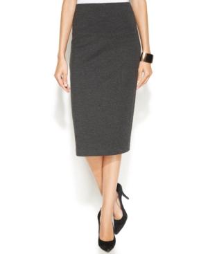 Vince Camuto Petite Ponte-knit Pencil Skirt In Dark Heather Grey