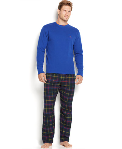 Polo Ralph Lauren Men's Tipped Thermal Crewneck and Plaid Flannel Pants