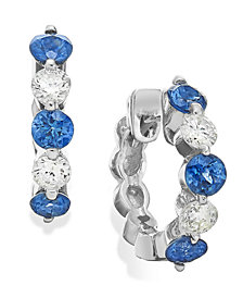 Sapphire (3/8 ct. t.w.) and Diamond (1/5 ct. t.w.) Hoop Earrings in 14k White Gold
