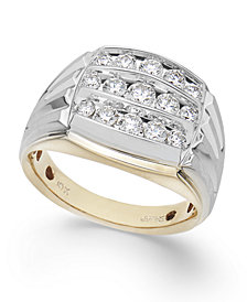 Men's Diamond Three Row Ring in 10k Yellow and White Gold (1 ct. t.w.)