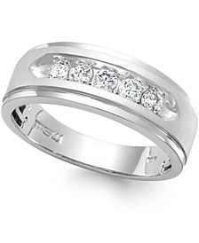 Men's Five-Stone Diamond Ring in 10k White Gold (1 ct. t.w.)