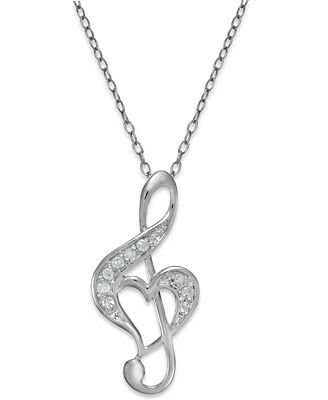 Macys Diamond Treble Clef Heart Pendant Necklace In Sterling Silver