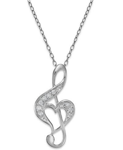 Diamond treble clef heart pendant necklace in sterling silver 110 diamond treble clef heart pendant necklace in sterling silver 110 ct tw aloadofball Gallery