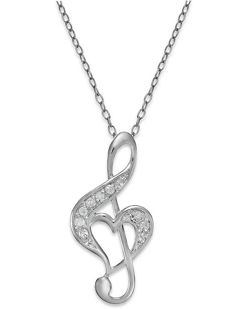 Macy's Diamond Treble Clef Heart Pendant Necklace in Sterling Silver (1/10 ct. t.w.)