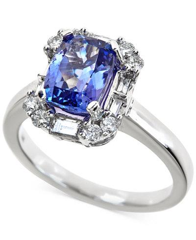 Tanzanite (2-1/5 ct. t.w.) and Diamond (1/2 ct. t.w.) Ring in 14k White Gold
