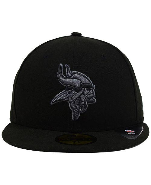 New Era Minnesota Vikings Black Gray 59FIFTY Cap - Sports Fan Shop ... bf04549f458