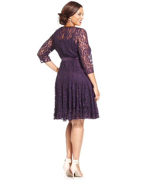 749d68b978f MSK Plus Illusion Floral Lace Dress   Reviews - Dresses - Women - Macy s