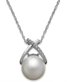 Cultured Freshwater Pearl (9mm) and Diamond Accent Cross Pendant Necklace in 14k White Gold