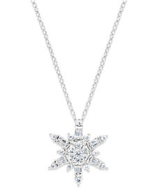 Diamond Snowflake Pendant Necklace in 14k White Gold (1/2 ct. t.w.)