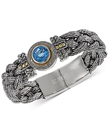 Balissima by EFFY® Blue Topaz (4 ct. t.w.) and Diamond (1/5 ct. t.w.) Braided Bracelet in Sterling Silver & 18k Gold