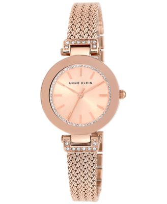 Image of Anne Klein Women's Swarovski Crystal-Accented Rose Gold-Tone Stainless Steel Mesh Bracelet Watch 30m