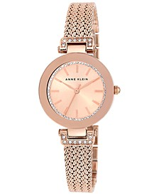 Women's Swarovski Crystal-Accented Rose Gold-Tone Stainless Steel Mesh Bracelet Watch 30mm AK-1906RGRG