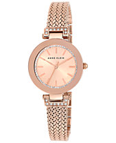 Anne Klein Women s Swarovski Crystal-Accented Rose Gold-Tone Stainless  Steel Mesh Bracelet Watch a036d25661