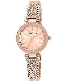 Anne Klein Women's Swarovski Crystal-Accented Rose Gold-Tone Stainless Steel Mesh Bracelet Watch 30mm AK-1906RGRG