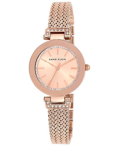 Anne klein women 39 s swarovski crystal accented rose gold tone stainless steel mesh bracelet watch for Anne klein swarovski crystals