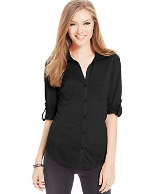 Almost Famous Juniors' Ribbed-Panel Utility Top