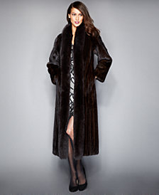 The Fur Vault Fox-Trimmed Mink Maxi Coat