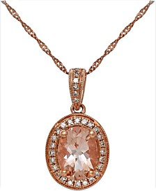 Morganite (1-1/5 ct. t.w.) and Diamond (1/6 ct. t.w.) Pendant Necklace in 14k Rose Gold
