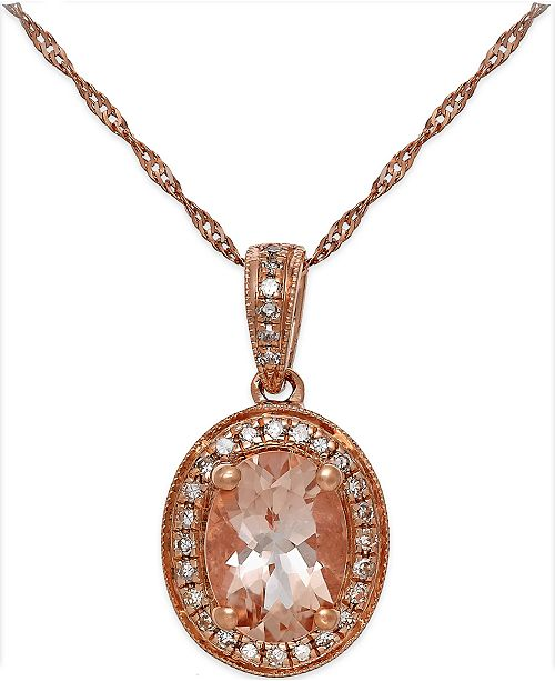 Macy's Morganite (1-1/5 ct. t.w.) and Diamond (1/6 ct. t.w.) Pendant Necklace in 14k Rose Gold