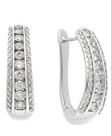 Diamond Channel J-Hoop Earrings in 10k White Gold or Gold (1 ct. t.w.)