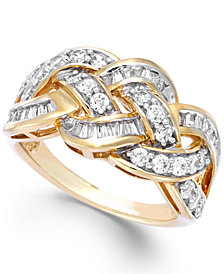 Wrapped in Love™ Diamond Woven Ring in 10k Gold (1 ct. t.w.), Created for Macy's