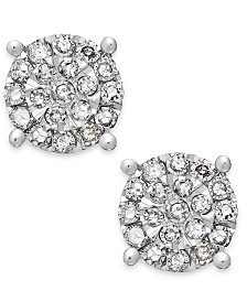 Diamond Cluster Stud Earrings in Sterling Silver (1/4 ct. t.w.)