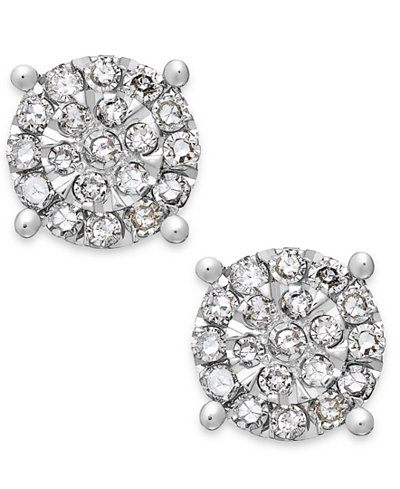 Diamond Cluster Stud Earrings in Sterling Silver (1/4 ct. t.w.)