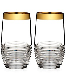 Mixology Mad Men Edition Circon Highball with Gold Band, Pair