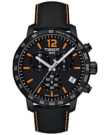 Tissot Men's Swiss Chronograph Quickster Black Leather Strap Watch 42mm T0954173605700