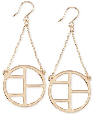 French Connection Gold-Tone Cut-Out Earrings