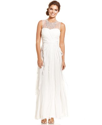 Adrianna Papell Embellished Tiered Chiffon Gown - Dresses - Women ...