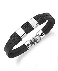 Sutton by Rhona Sutton Men's Stainless Steel Leather Strap Station Bracelet