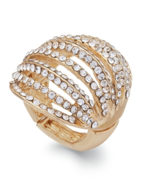 Inc International Concepts Gold-Tone Crystal Pave Multi-Row Stretch Ring