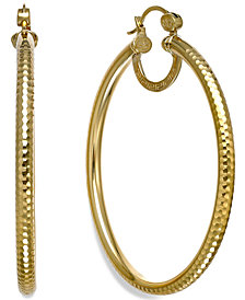 SIS by Simone I Smith Textured Large Hoop Earrings in 18k Gold over Sterling Silver