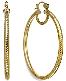 Simone I. Smith Textured Large Hoop Earrings in 18k Gold over Sterling Silver