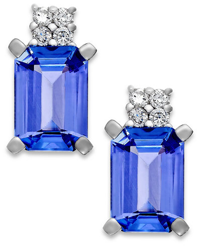 Tanzanite (1-9/10 ct. t.w.) and Diamond Accent Stud Earrings in 14k White Gold
