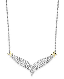 Diamond Two-Row V-Necklace in 10k Gold and Sterling Silver (1/3 ct. t.w.)