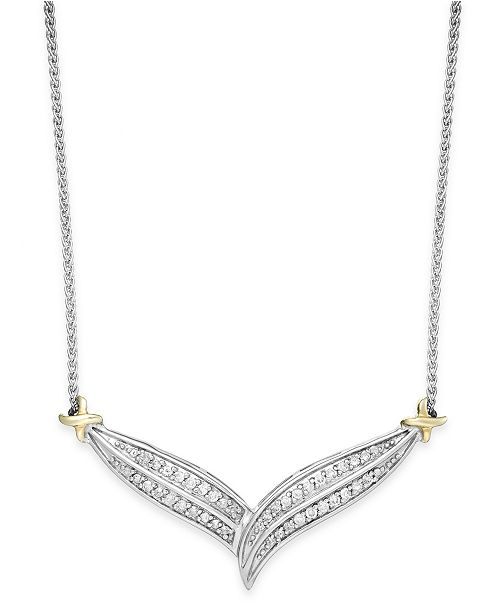 Macy's Diamond Two-Row V-Necklace in 10k Gold and Sterling Silver (1/3 ct. t.w.)